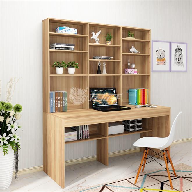 木工做电脑桌带书柜图